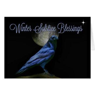 Tarjeta Cuervo de las bendiciones del solsticio de
