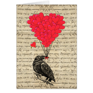 Tarjeta Cuervo del vintage y globos en forma de corazón
