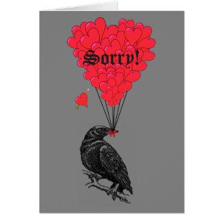 Tarjeta Cuervo romántico y corazón góticos tristes