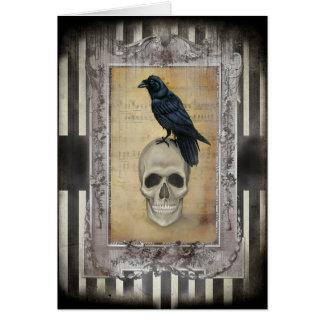 Tarjeta Cuervo y cráneo