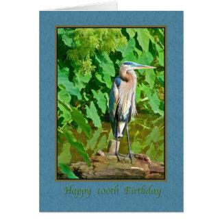 Tarjeta Cumpleaños, 100o, garza de gran azul