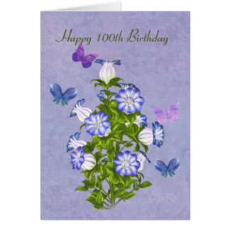 Tarjeta Cumpleaños, 100o, mariposas y flores de Bell