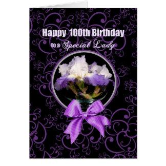 Tarjeta Cumpleaños - 100o - señora especial - iris púrpura