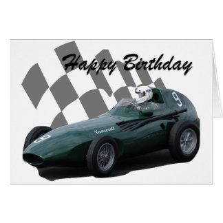 Tarjeta Cumpleaños 4 del coche de competición del vintage