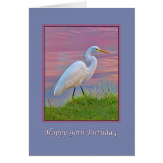 Tarjeta Cumpleaños, 90.o, gran Egret que da un paseo en la