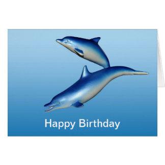 Tarjeta Cumpleaños azul de los delfínes