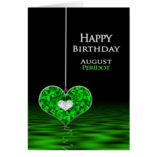 Tarjeta Cumpleaños - Birthstone - agosto - Peridot