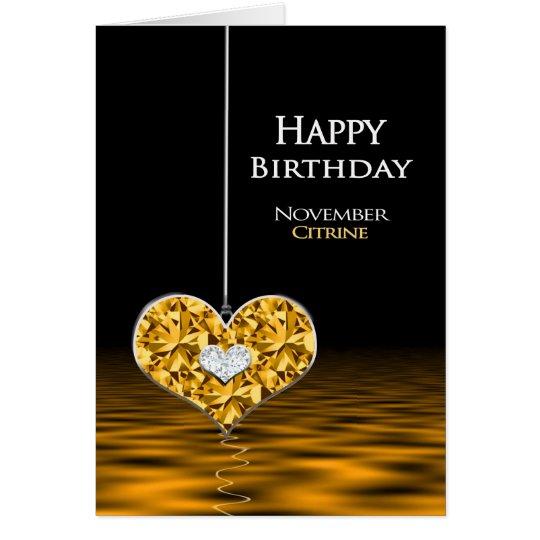 Tarjeta Cumpleaños - Birthstone - noviembre - Citrine