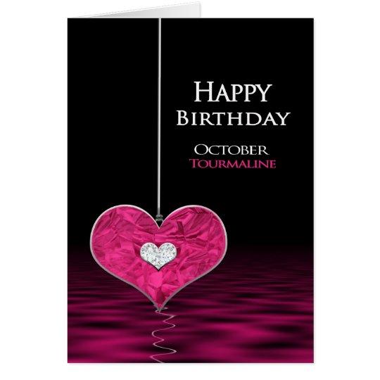 Tarjeta Cumpleaños - Birthstone - octubre - Tourmaline
