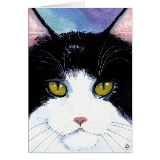 Tarjeta Cumpleaños blanco del negro lindo del gato o