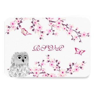 Tarjeta Cumpleaños blanco rosado RSVP de las flores de