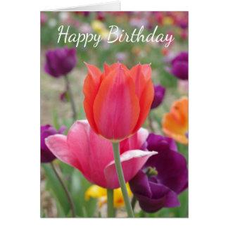 Tarjeta Cumpleaños bonito de los tulipanes de la primavera