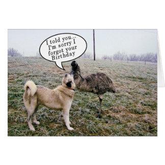 Tarjeta Cumpleaños-cambio tardío de Achai y del Emu dentro