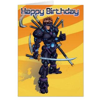 Tarjeta Cumpleaños cibernético del samurai