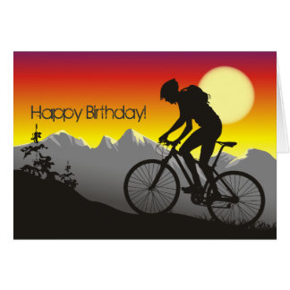 Tarjeta Cumpleaños de la bici de montaña de la silueta