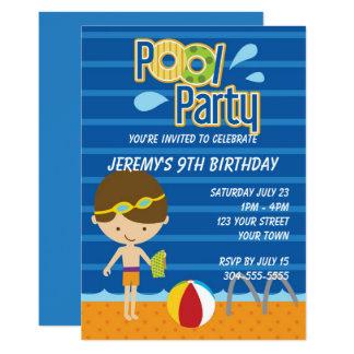 Tarjeta Cumpleaños de la fiesta en la piscina de los