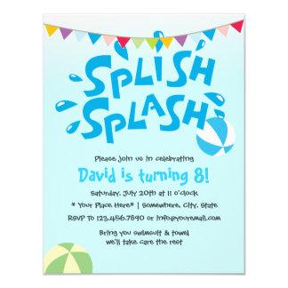Tarjeta Cumpleaños de la fiesta en la piscina del chapoteo