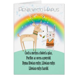 Tarjeta Cumpleaños de la lengua Galés, con el poema del