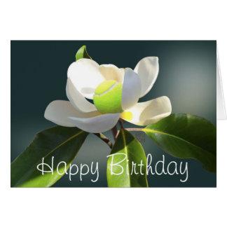 Tarjeta Cumpleaños de la magnolia del tenis feliz