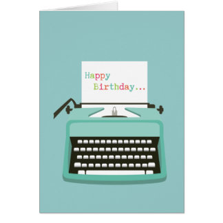 Tarjeta Cumpleaños de la máquina de escribir