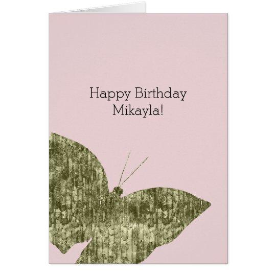Tarjeta Cumpleaños de la mariposa de la joya del oro