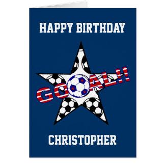 Tarjeta Cumpleaños de la meta del fútbol de las barras y