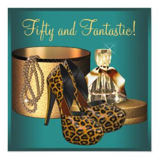Tarjeta Cumpleaños de la mujer del oro del leopardo del