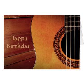 Tarjeta Cumpleaños de la música de madera de la guitarra