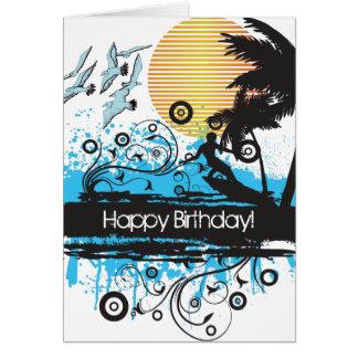 Tarjeta Cumpleaños de la persona que practica surf de la