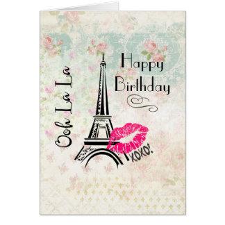 Tarjeta Cumpleaños de la torre Eiffel de París del La del
