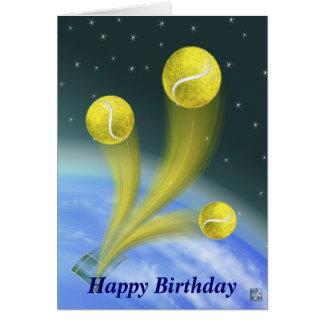 Tarjeta Cumpleaños de la victoria del tenis feliz