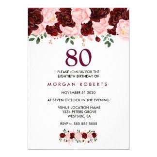 Tarjeta Cumpleaños de las flores de Borgoña y del rosa el
