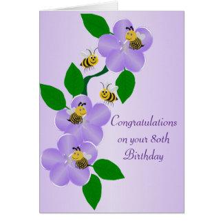 Tarjeta Cumpleaños de las flores de la púrpura 80.o
