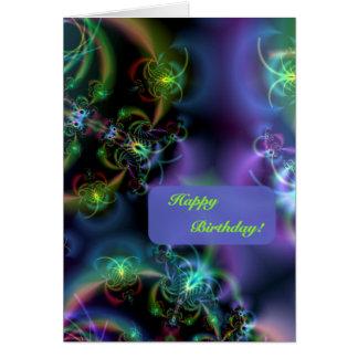 Tarjeta Cumpleaños de las mariposas del fractal feliz