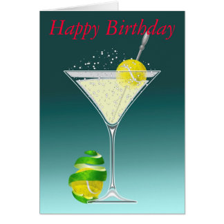 Tarjeta Cumpleaños de Martini del tenis feliz