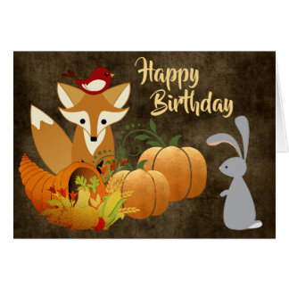 Tarjeta Cumpleaños de oro del otoño del Fox de los