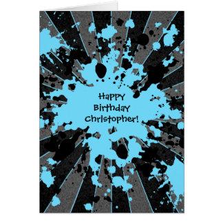 Tarjeta Cumpleaños de Paintball de la salpicadura azul