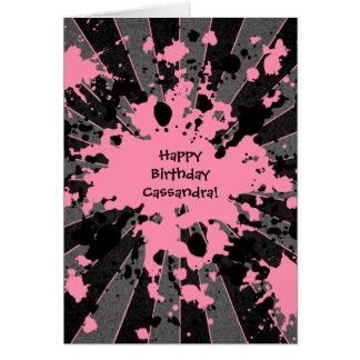 Tarjeta Cumpleaños de Paintball de la salpicadura rosada