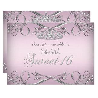 Tarjeta Cumpleaños de plata rosado del dulce 16 de la