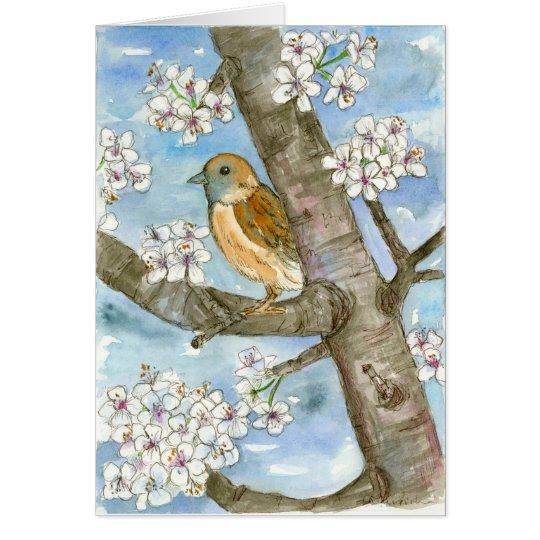 Tarjeta Cumpleaños del árbol floreciente de la primavera