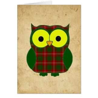Tarjeta Cumpleaños del búho de la tela escocesa de tartán