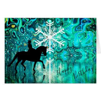 Tarjeta Cumpleaños del copo de nieve del invierno del