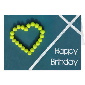 Tarjeta Cumpleaños del corazón del tenis feliz