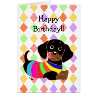 Tarjeta Cumpleaños del dibujo animado 2 del Dachshund