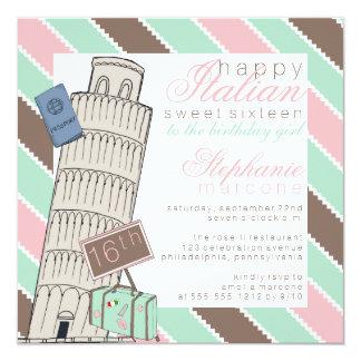 Tarjeta Cumpleaños del dulce 16 de la torre inclinada de