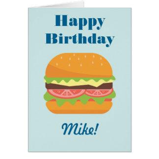 Tarjeta Cumpleaños del ejemplo de la hamburguesa feliz