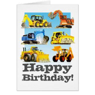 Tarjeta Cumpleaños del excavador picador amarillo de