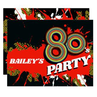 Tarjeta cumpleaños del fiesta de los años 80 o