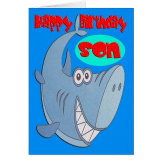 Tarjeta Cumpleaños del hijo del tiburón azul