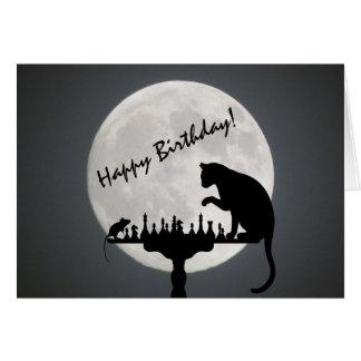 Tarjeta ¡Cumpleaños del juego del gato y del ratón de la